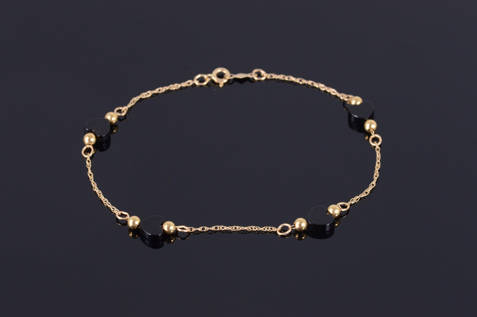 affa3db77a78c7 14K Black Onyx Heart Beaded Rolling Cable Chain Yellow Gold Bracelet ...