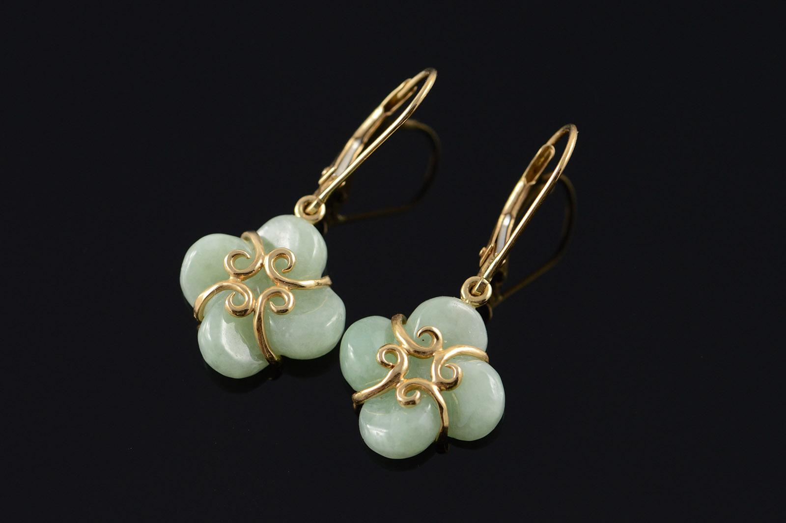 14k Carved Jade Flower Clover Dangle Leverback Yellow Gold Earrings