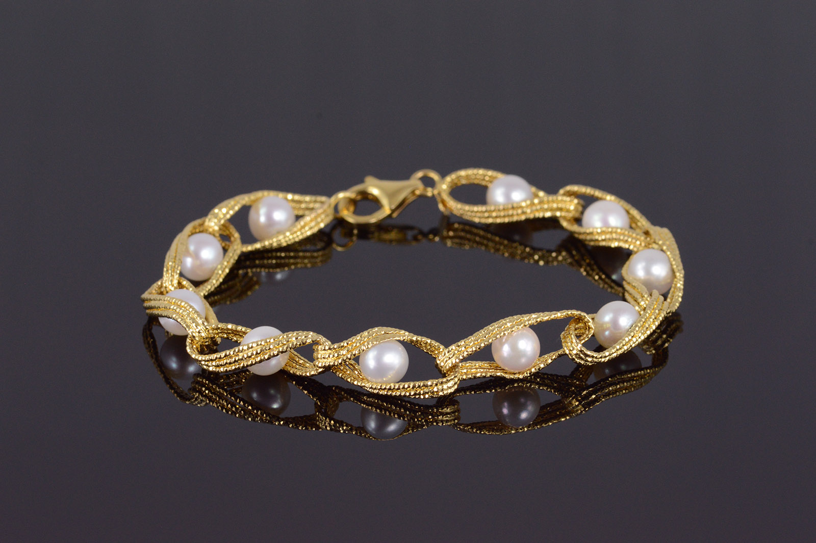 14k Cultured Pearl Textured Twist Loop Link Yellow Gold