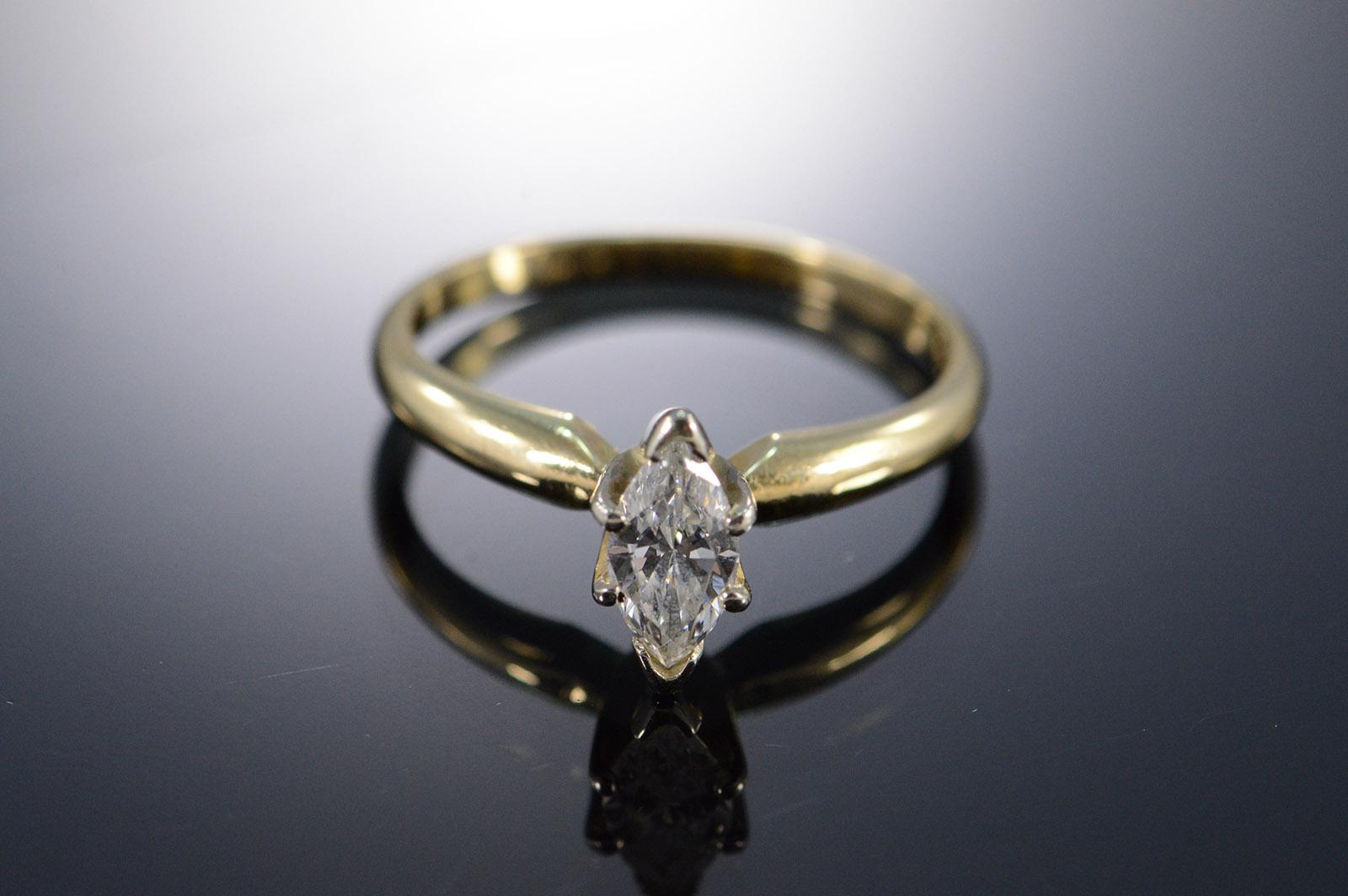 14k Egl 0 50 Ct Marquise F G Vs2 Solitaire Diamond