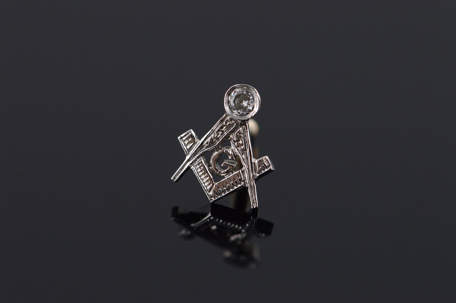 db7691e618dc 14K Genuine Diamond Mason Masonic Emblem Lapel Tie Tack White Gold Pin/ Brooch