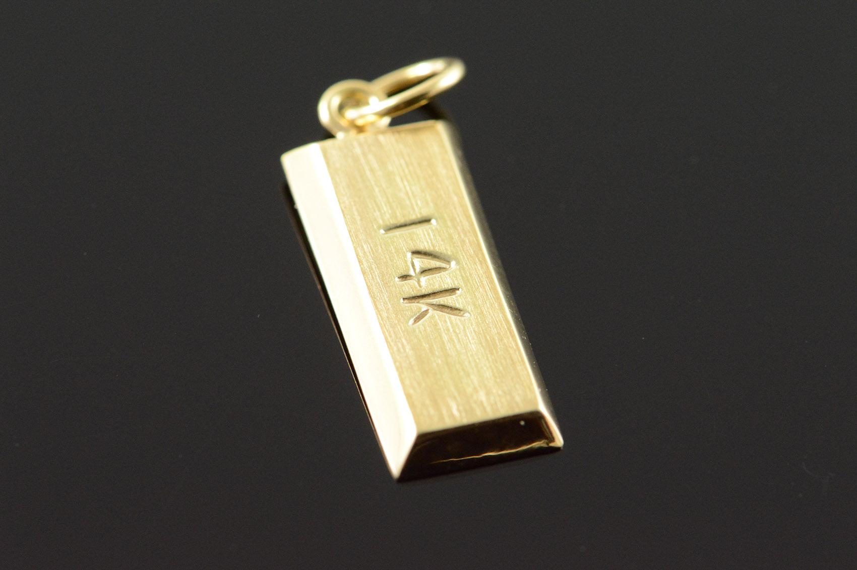 14k Gold Bullion Bar Yellow Charm
