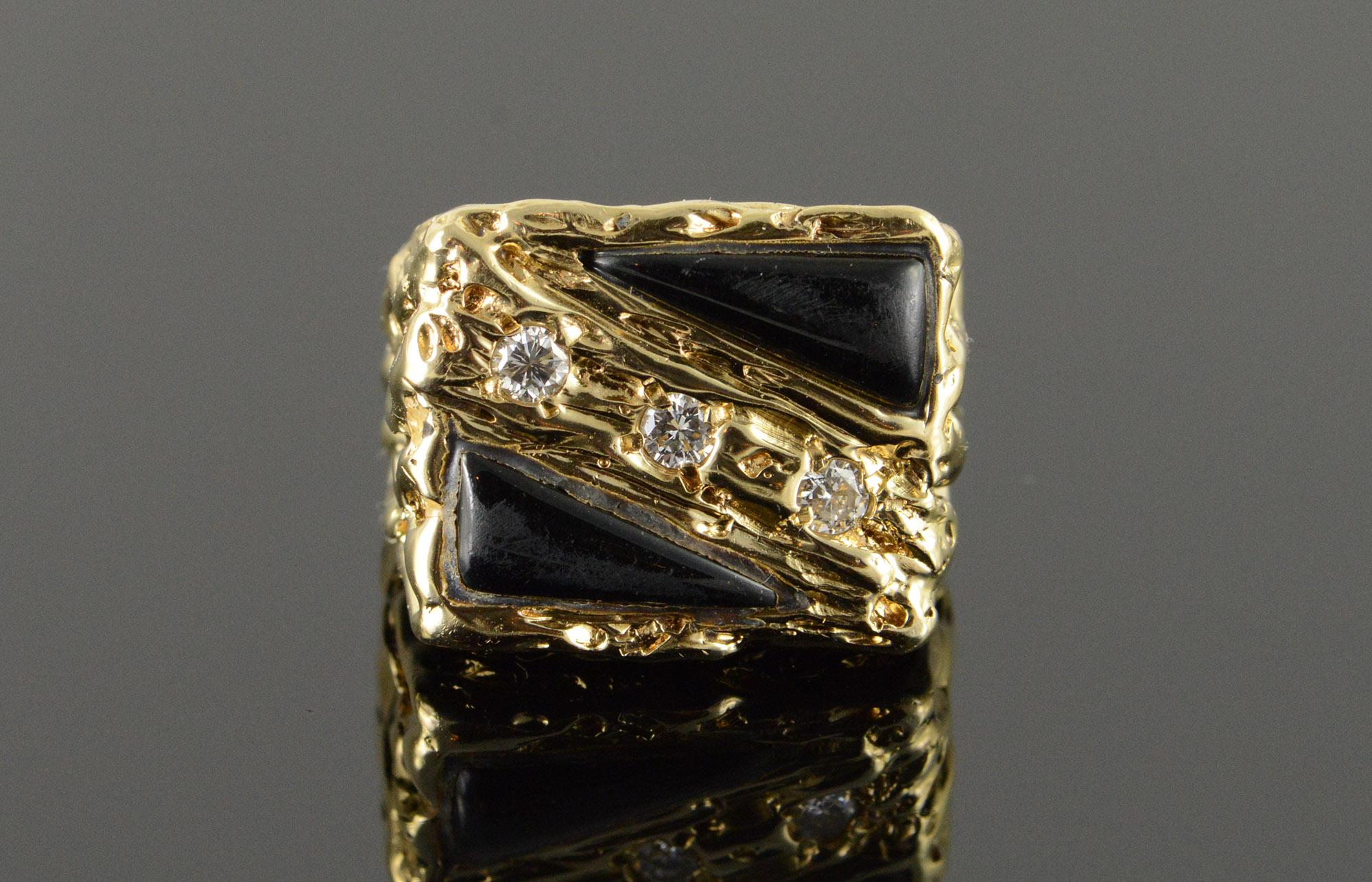 fa7e5d07a0141 14K Heavy 0.30 CTW Diamond Black Onyx Inset Nugget Designer Yellow ...