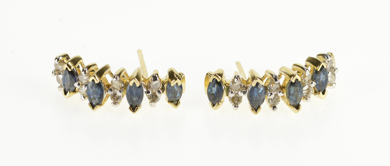 53ef3fb60 Image 1 of 4 Free Shipping. 14K Marquise Sapphire Diamond Accent Curved Bar  Yellow Gold Earrings