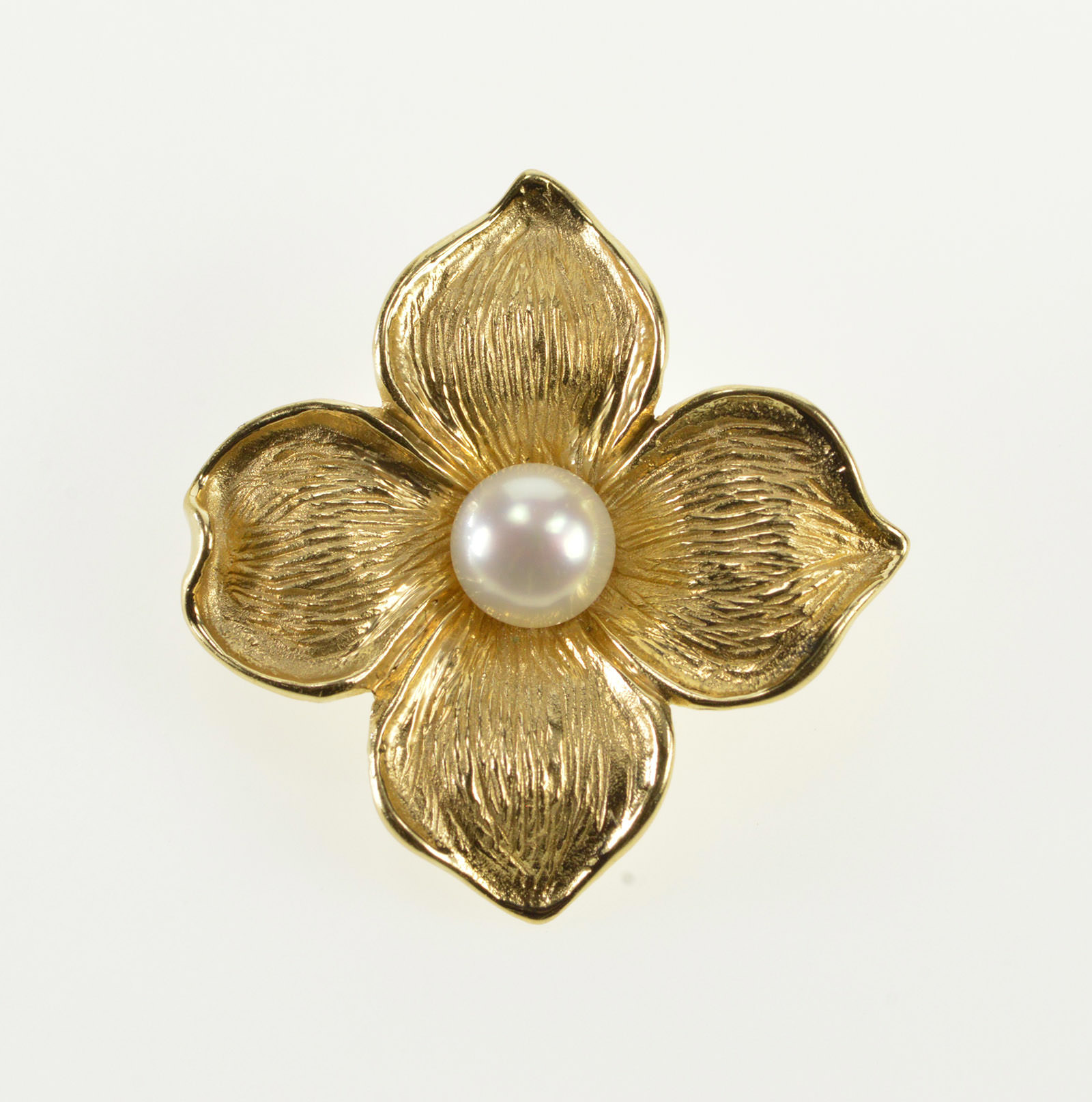 b52d18738be8e 14K Pearl Inset 3D Dogwood Flower Floral Yellow Gold Pin/Brooch ...