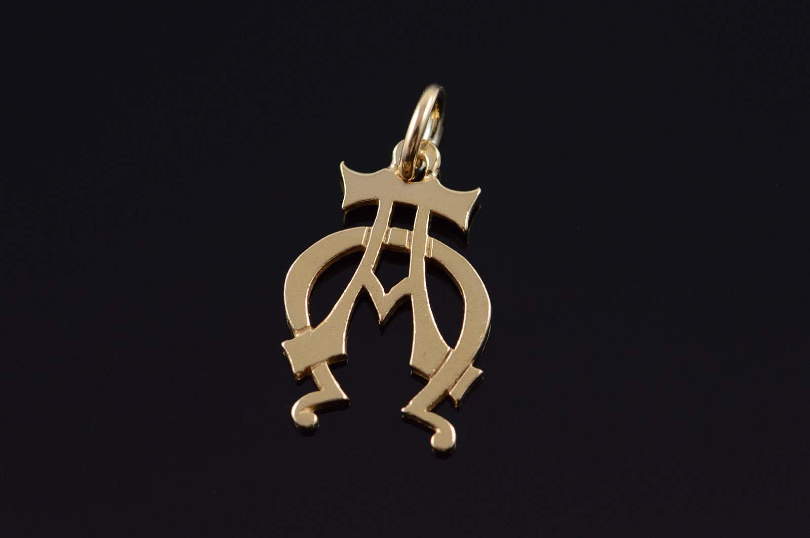 14k Pie Omega Greek Symbol Fraternity Yellow Gold Charmpendant