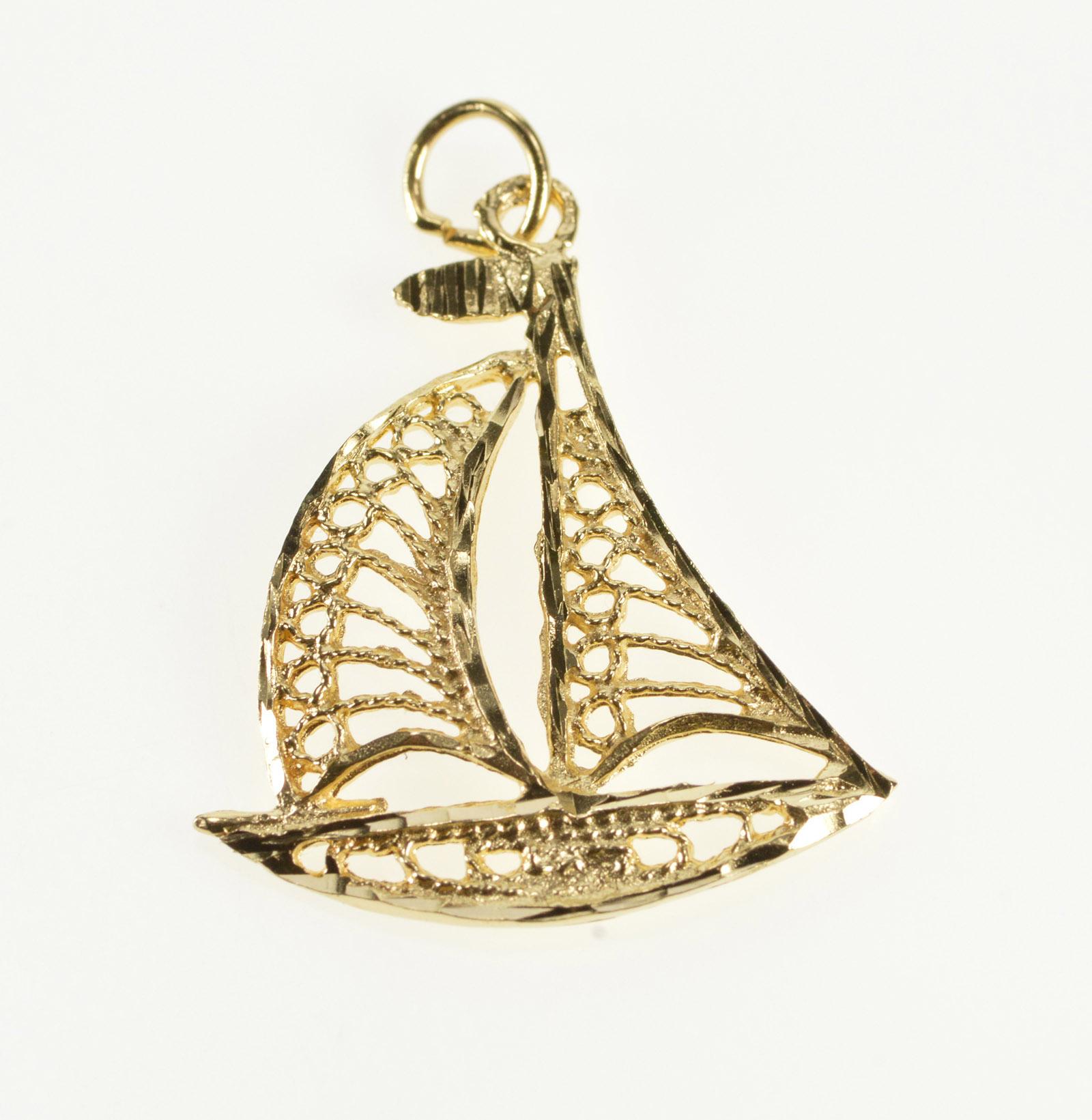 c1127c90c 14K Scroll Filigree Sailboat Nautical Sailing Yellow Gold Charm/Pendant