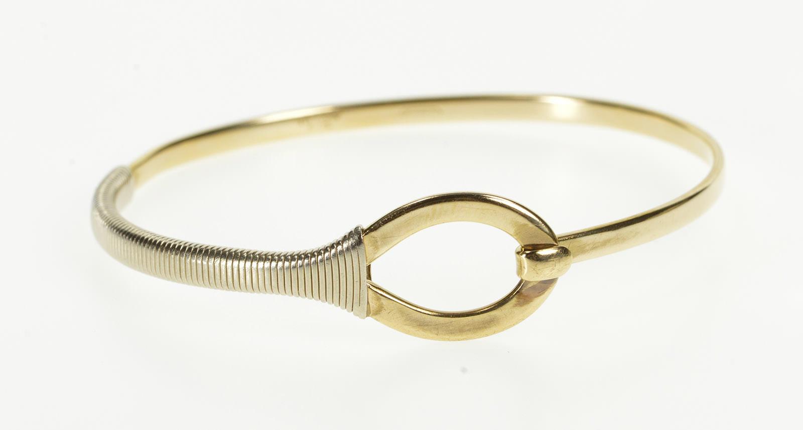 0a0364897 14K Tiffany & Co. Two Tone Loop Wrap Bangle Yellow Gold Bracelet ...