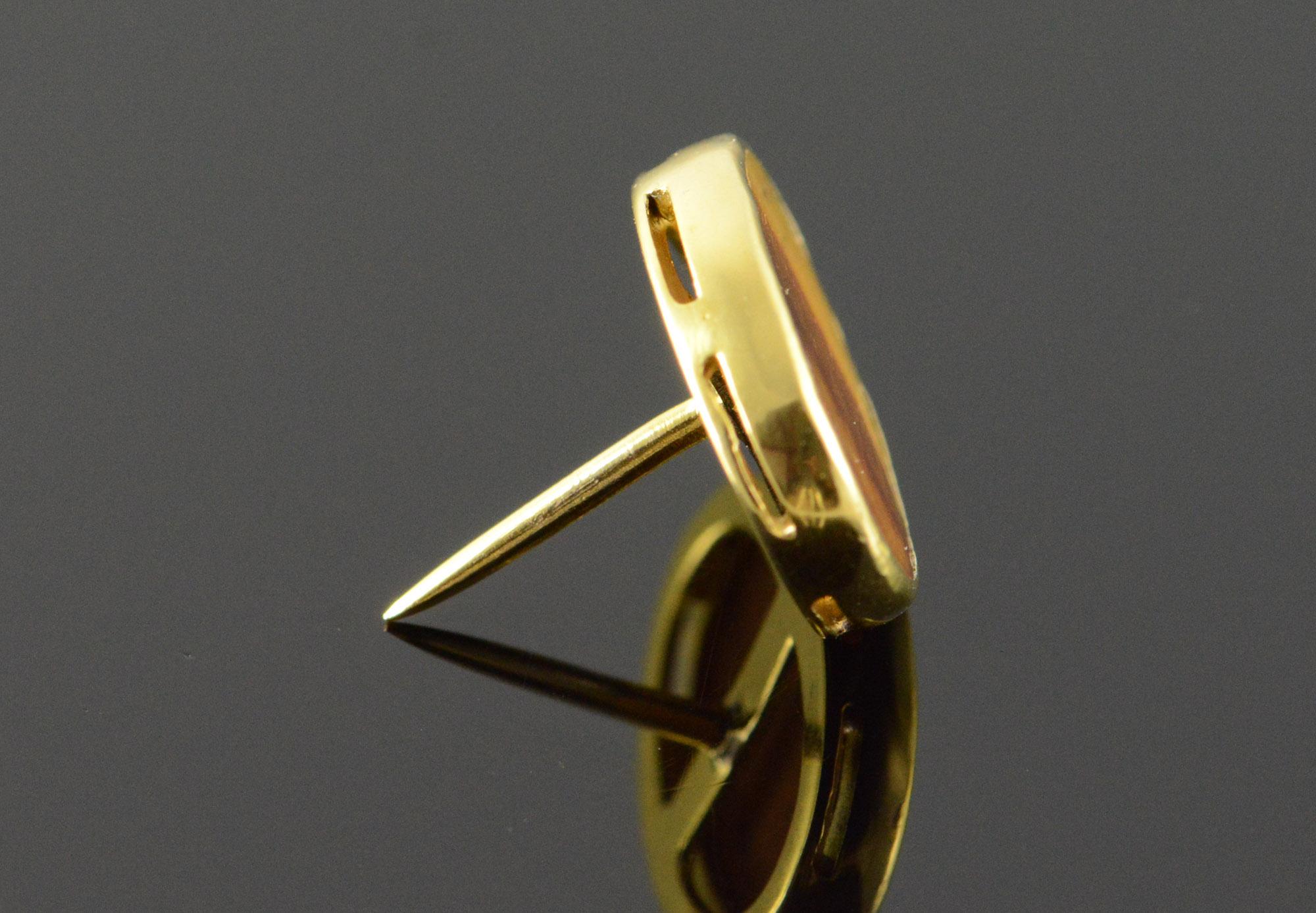 3c14f3d15bd0 14K Tiger's Eye Oval Tie Tack Lapel Pin Yellow Gold Tie Bar ...
