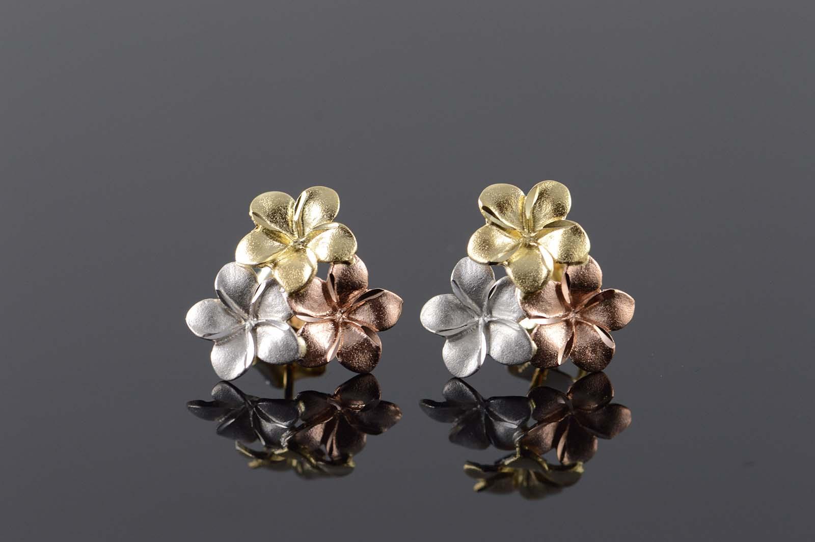 14k Gold Tri Color Hawaiian Flower Stud Earrings Flowers Healthy