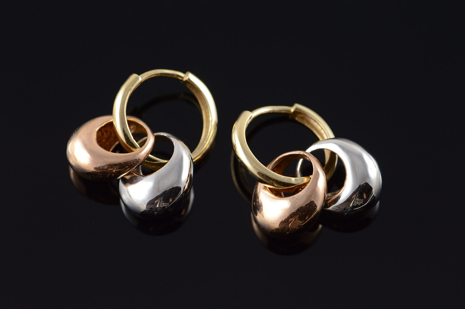 Image 1 Of 4 Free Shipping 14k Tri Color Rose White Hollow Hoop Yellow Gold Earrings