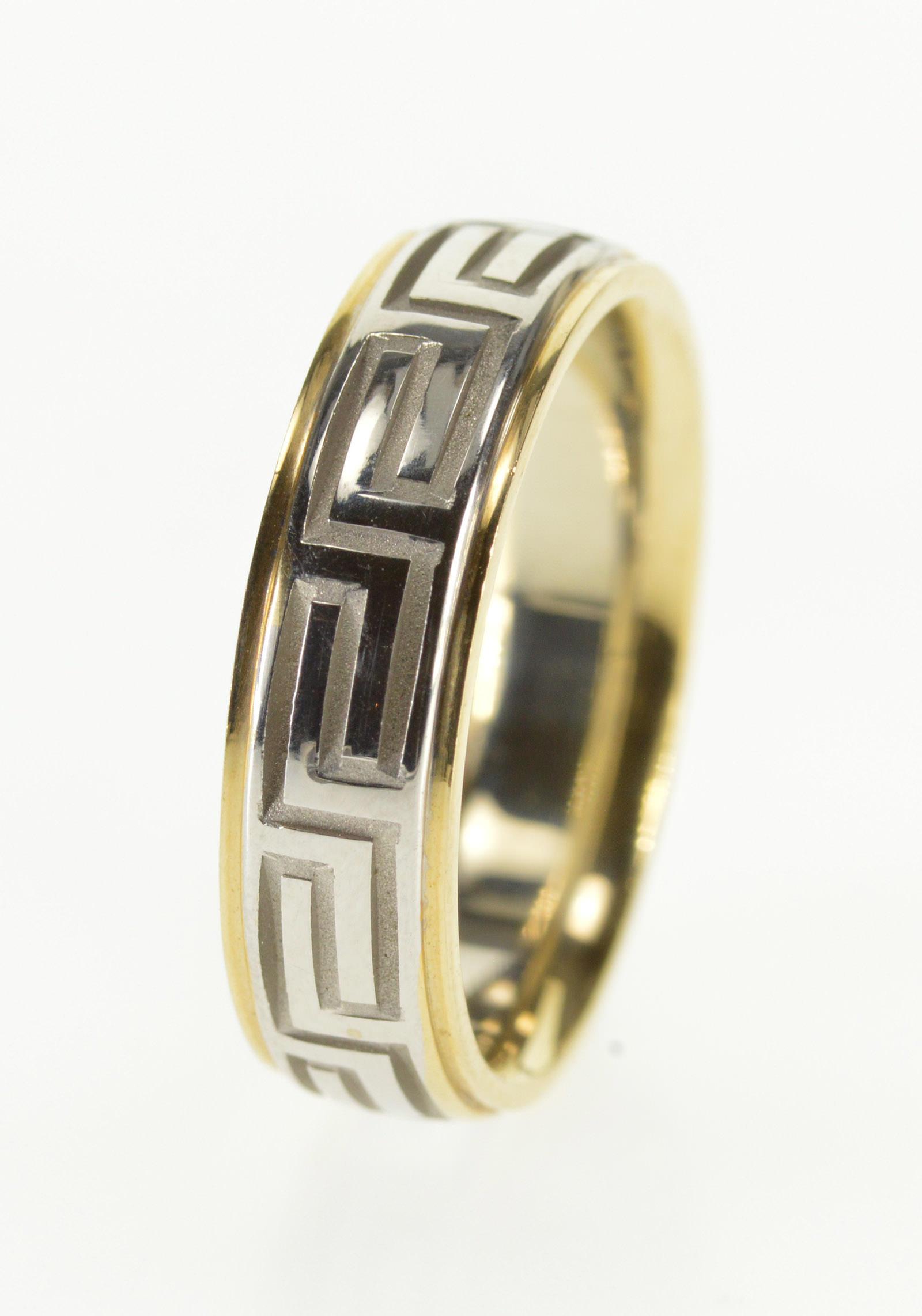14k Two Tone Greek Wave Pattern Wedding Band White Gold Ring Size 625: Wave Pattern Wedding Ring I Do At Websimilar.org