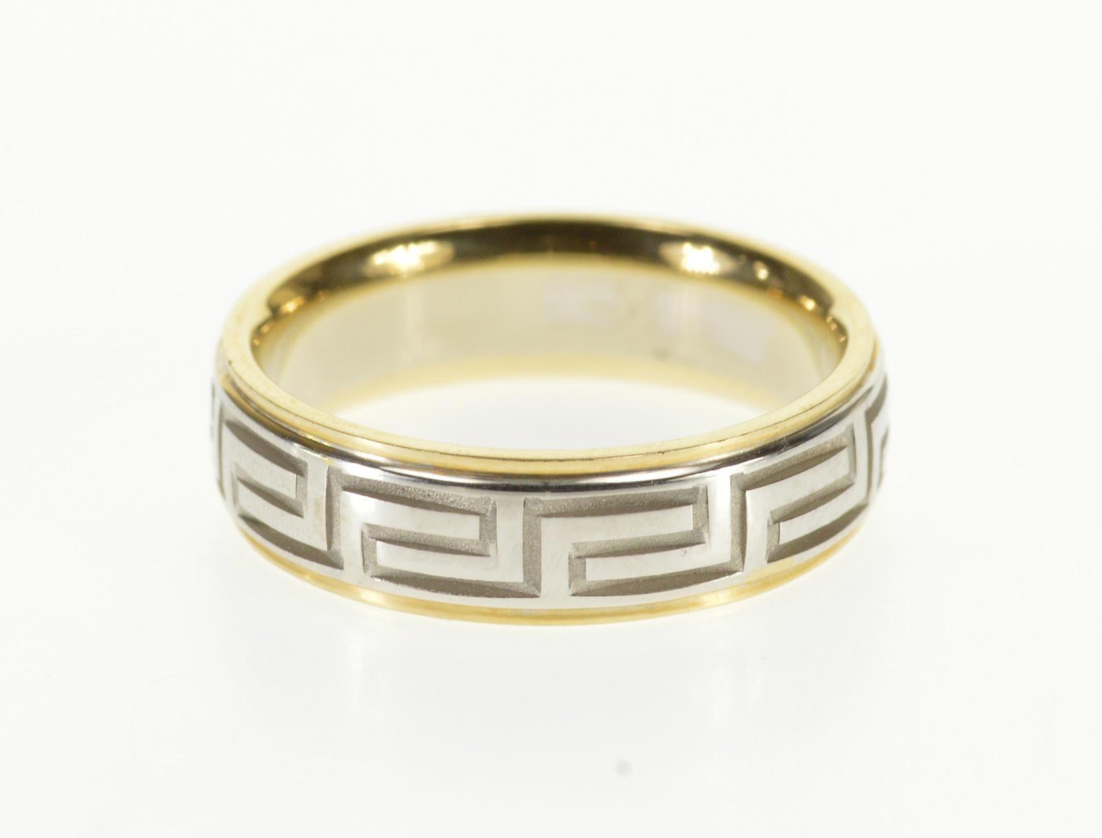 Image 1 Of 4 14k Two Tone Greek Wave Pattern Wedding: Wave Pattern Wedding Ring I Do At Websimilar.org