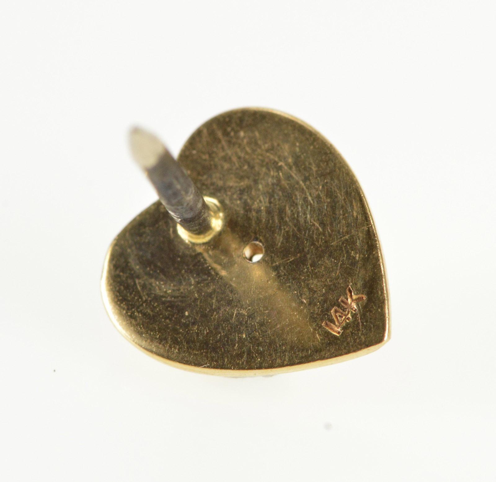 14K Two Tone Textured Diamond Inset Heart Lapel Yellow Gold Pin