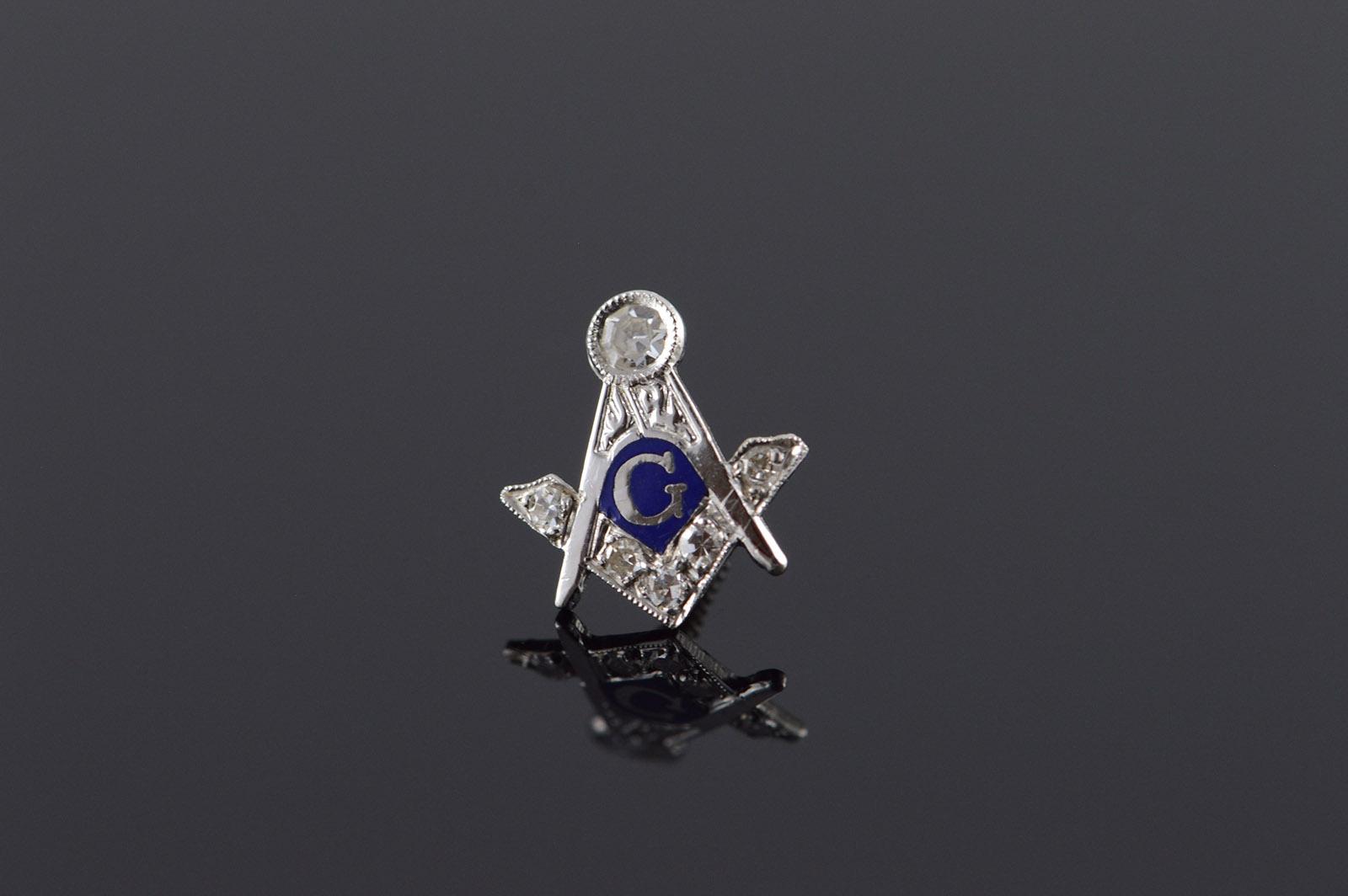 14ce549b1506 14K Vintage 0.10 CTW Diamond Mason Masonic Tie Tack Lapel White Gold Pin/ Brooch
