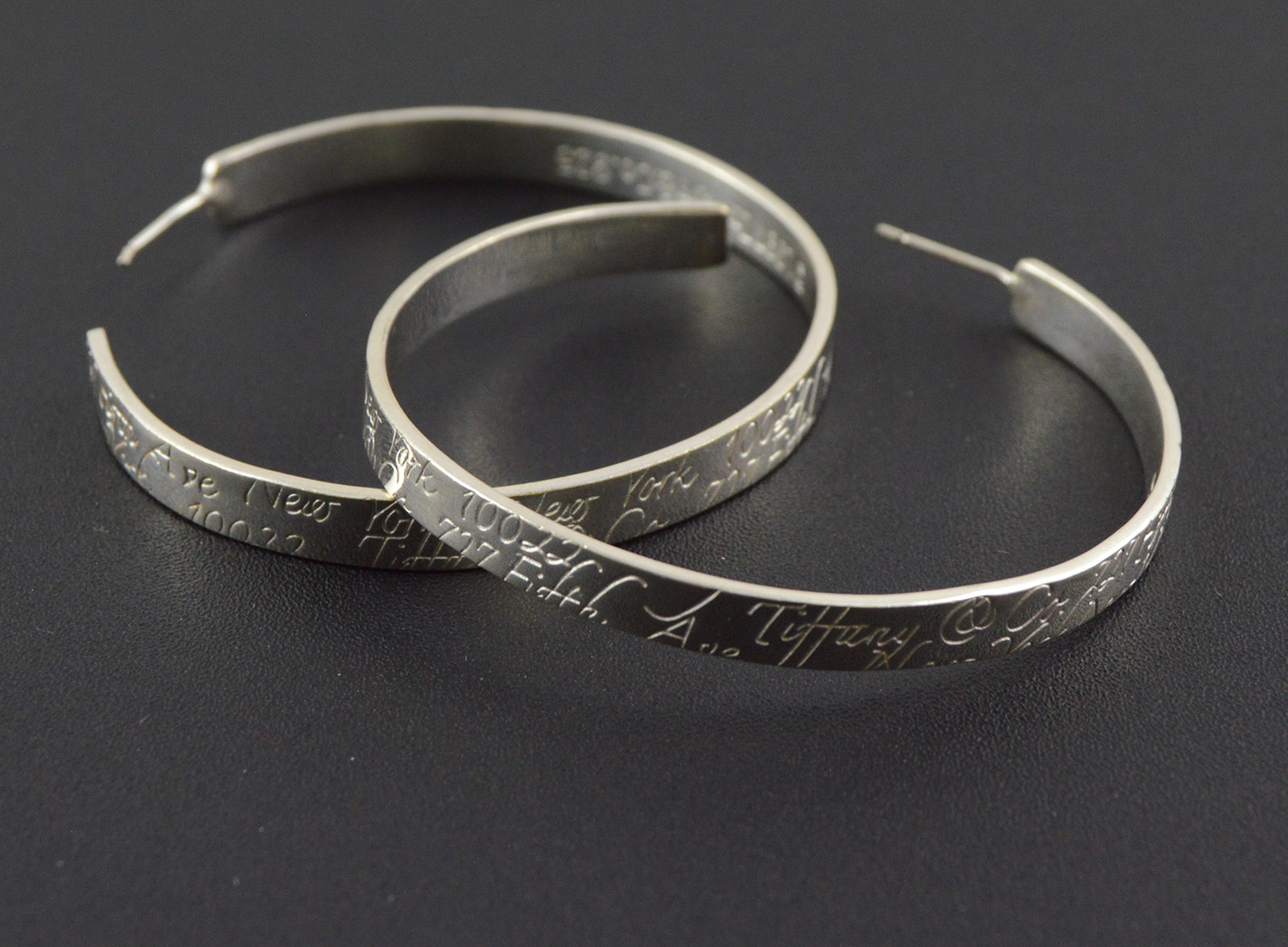 57a14a133 Image 1 of 2. 18.6g Solid Silver Tiffany & Co. Hoop Earrings Sterling  Premium Marked 925