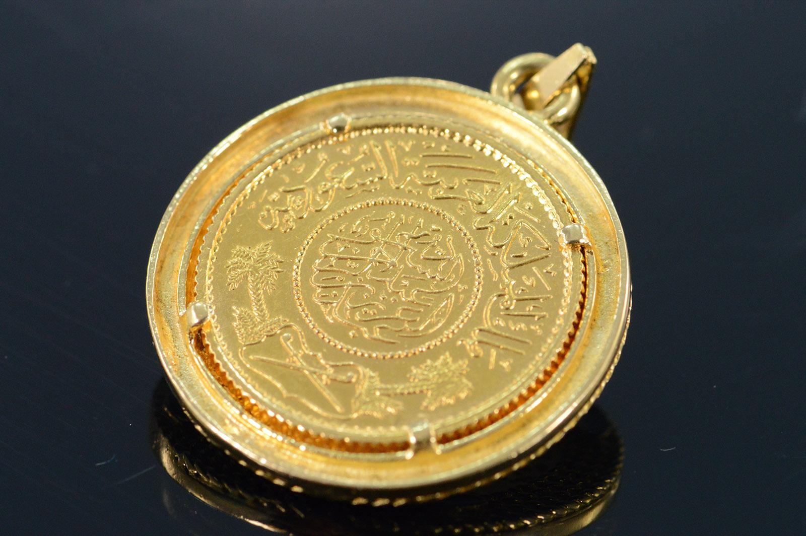 18k 13 3g Saudi Arabia Gold Coin Fancy Enamel Bezel Yellow