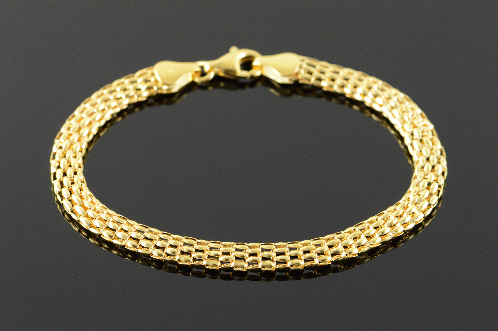 18k 6g Fancy Panther Link Chain Yellow Gold Bracelet 7