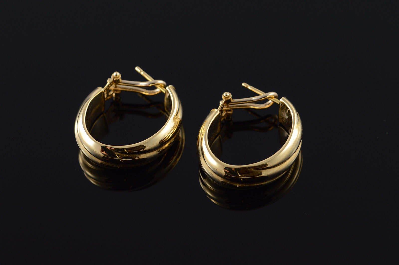 18k Hollow Hoop Twist French Clip Yellow Gold Earrings