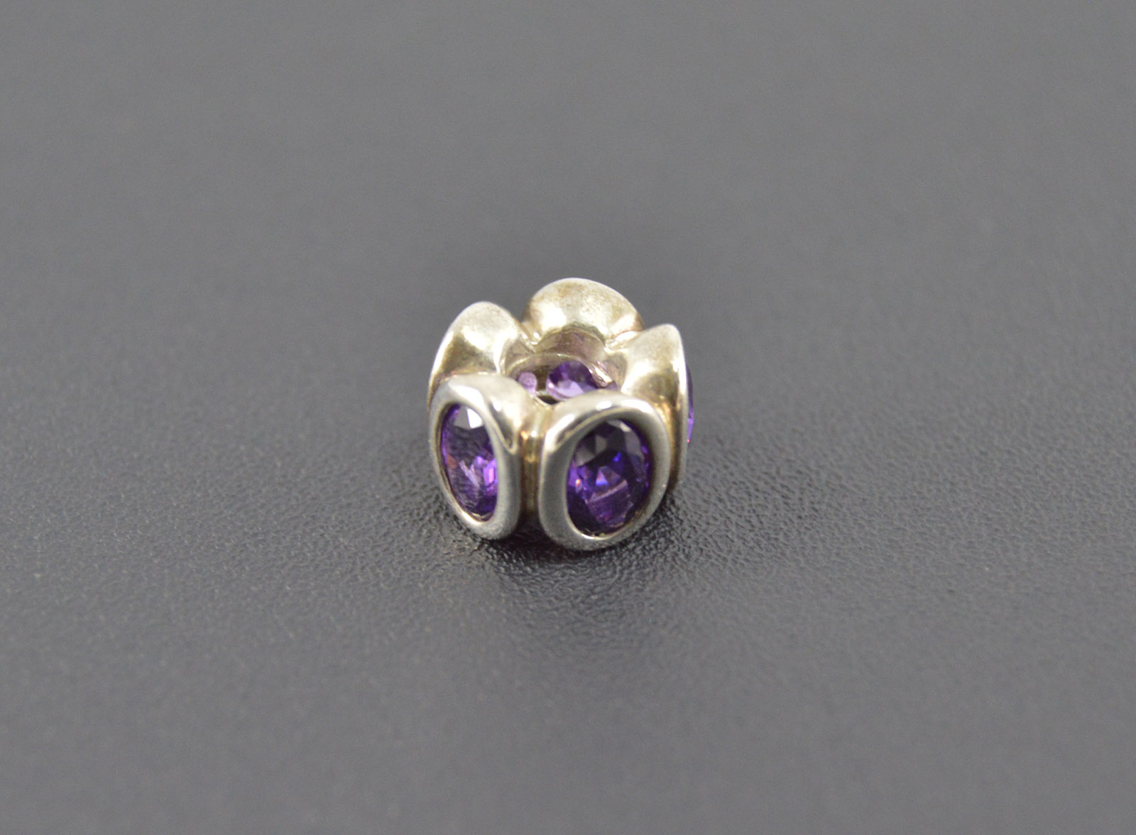 5d2b4ede1 3.1g Solid Silver Pandora High Retail Value Purple Bezel Set Oval  Collectable Bead Sterling Charm/Pendant Marked ALE 925
