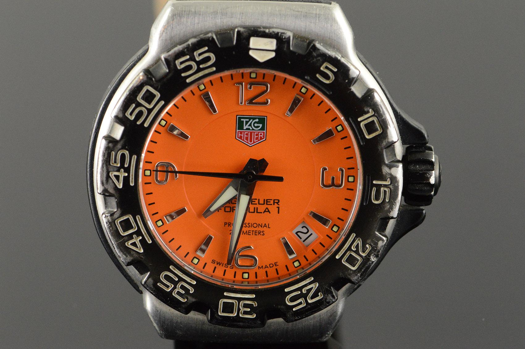 This Tag: 34mm Rare Orange TAG Heuer Formula 1 Quartz Professional