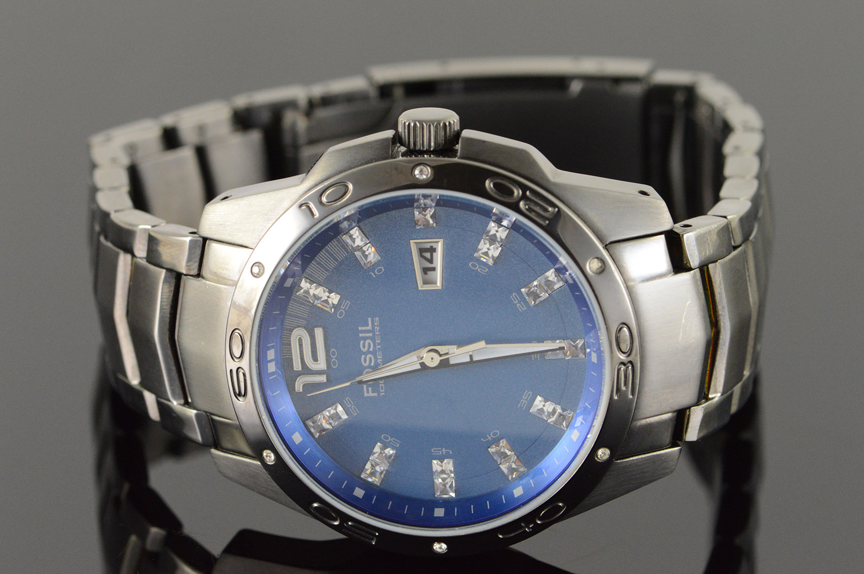 40mm Fossil 100 Meter Blue Dial Date Am4117 Watch Men S