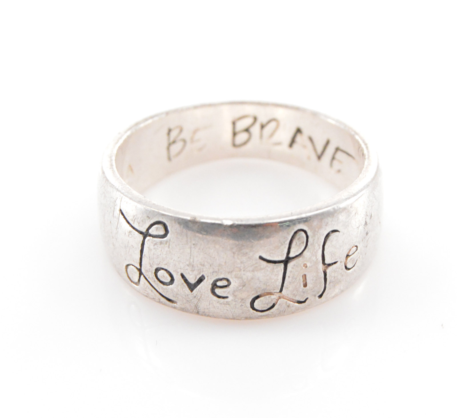 53g Solid Silver Love Lifebe Brave Inscribed Band Sterling Ring