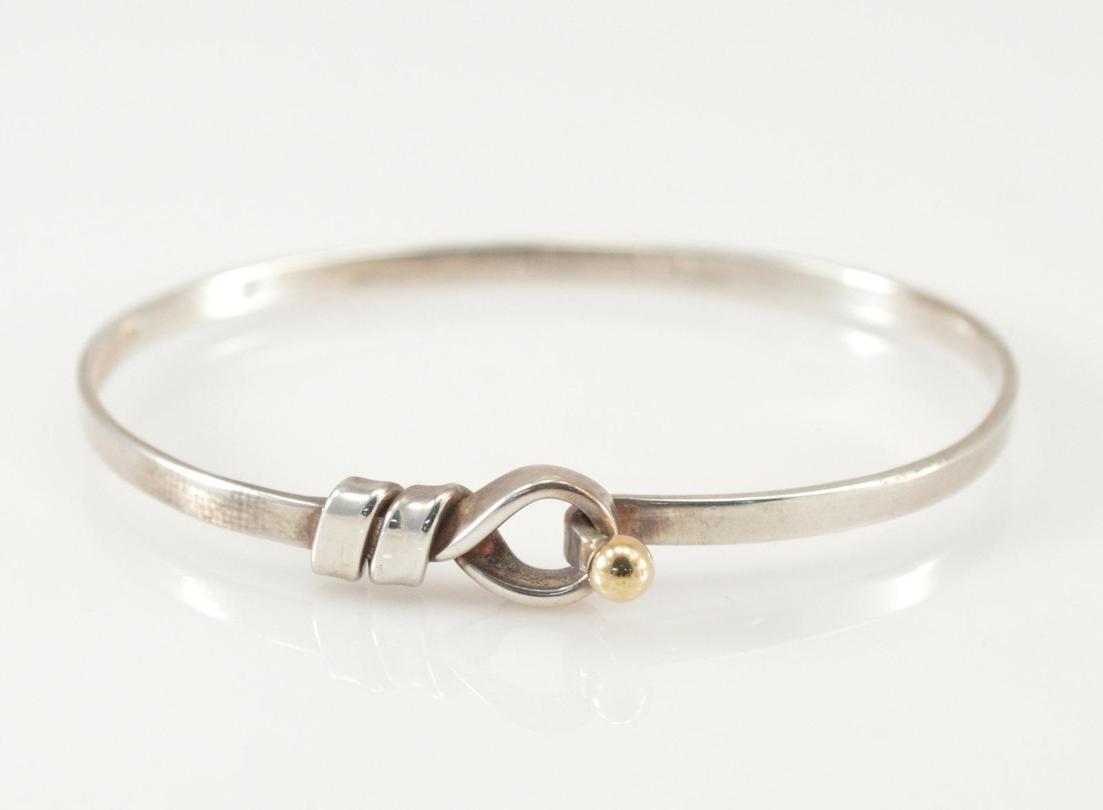 9 4g Solid Silver Tiffany Co 18k Gold Hook Bracelet 2 25 Sterling Marked 750 925