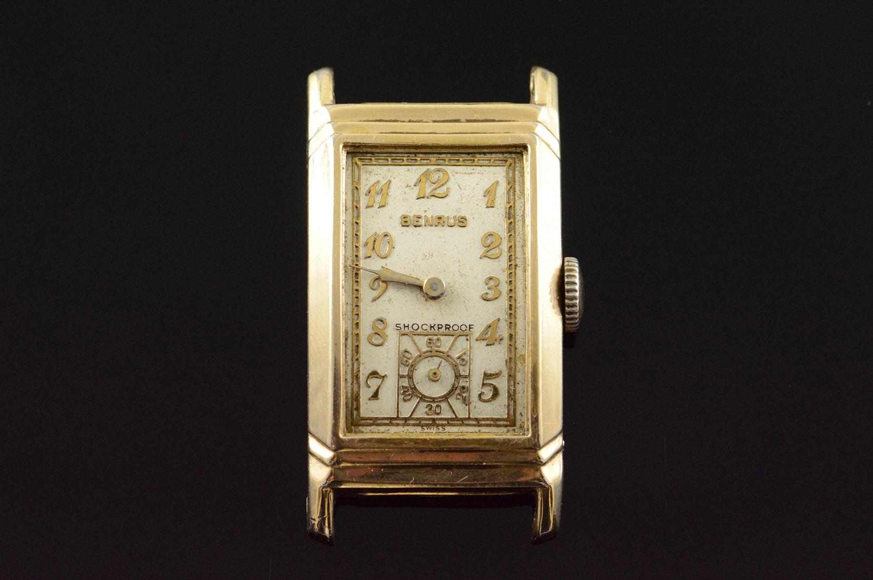 Benrus Shockproof Vintage Square 20x40mm Wrist Watch Men