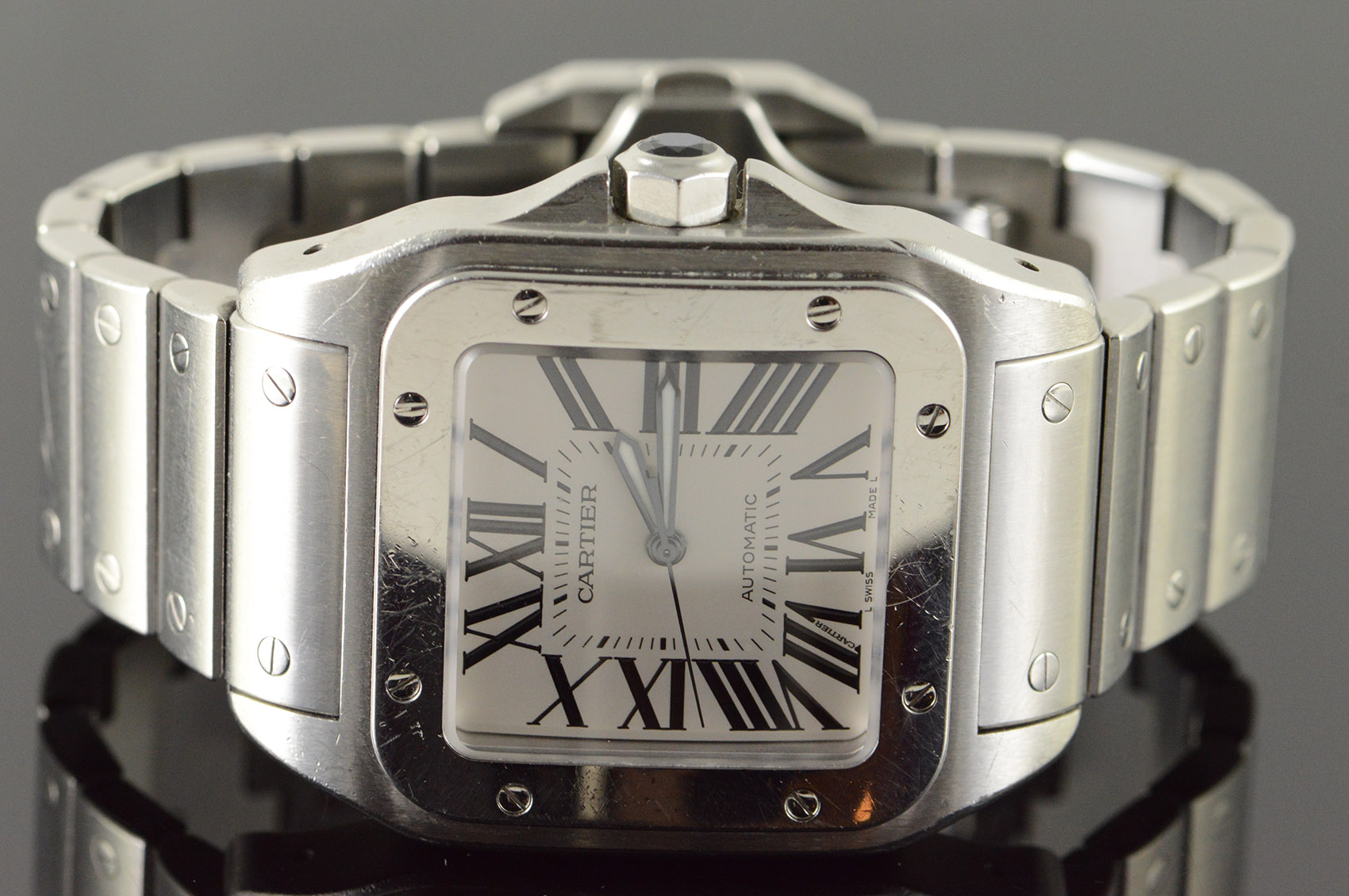 Cartier Santos 100 Xl Automatic 38mm Case Stainless Bracelet Watch Men S