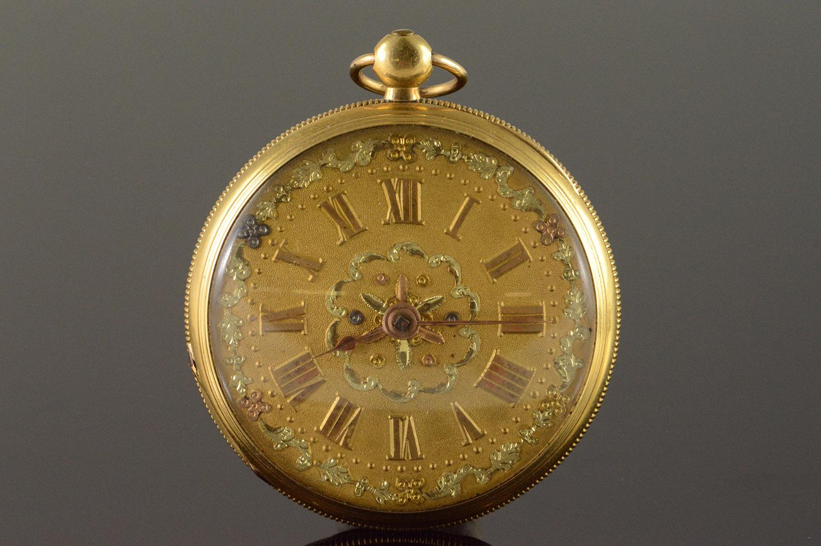 Ebouche Swiss Made 1800s Fancy Gold Dial Pocket Watch