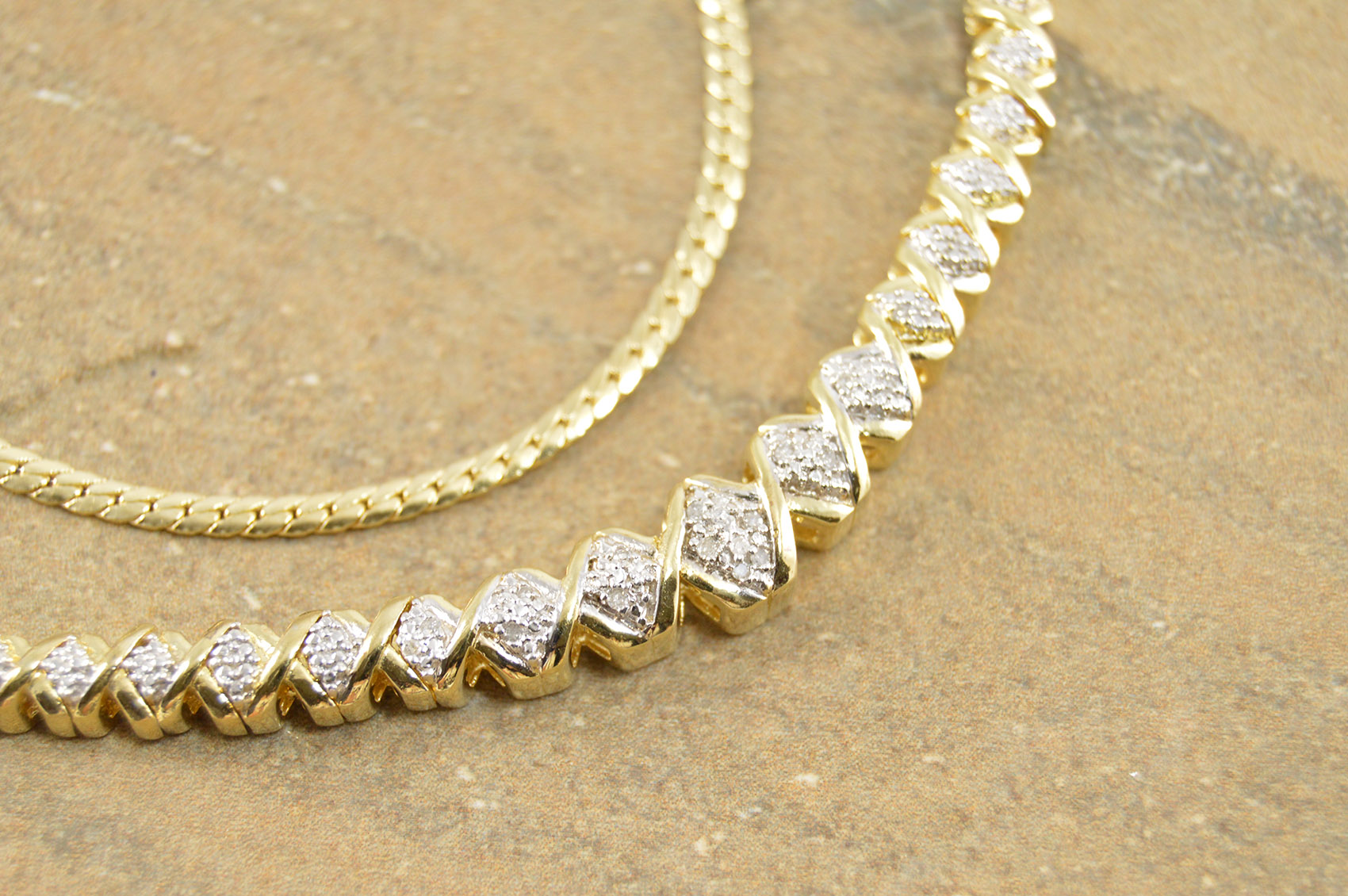 Genuine Diamond Gold Plated Criss Cross Design Fancy