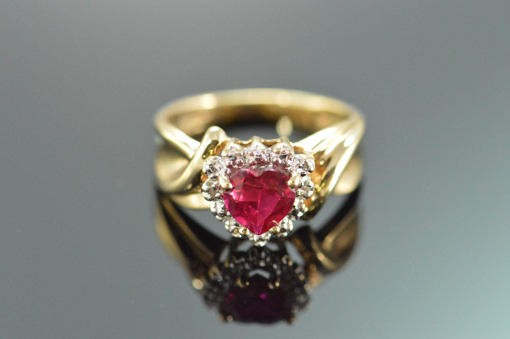 40f9e38800508 Gold Heart Shaped Lab Created Ruby & Diamond Ring 10K Yellow Gold ...