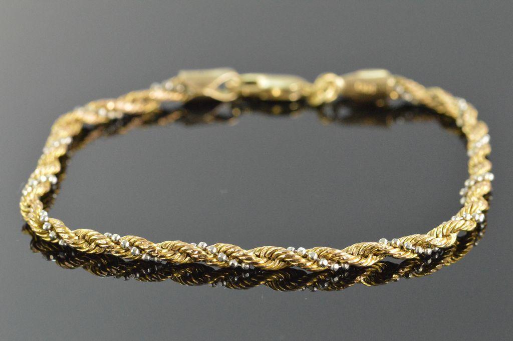 Gold Rope Bead Link Bracelet 8 14k Yellow White