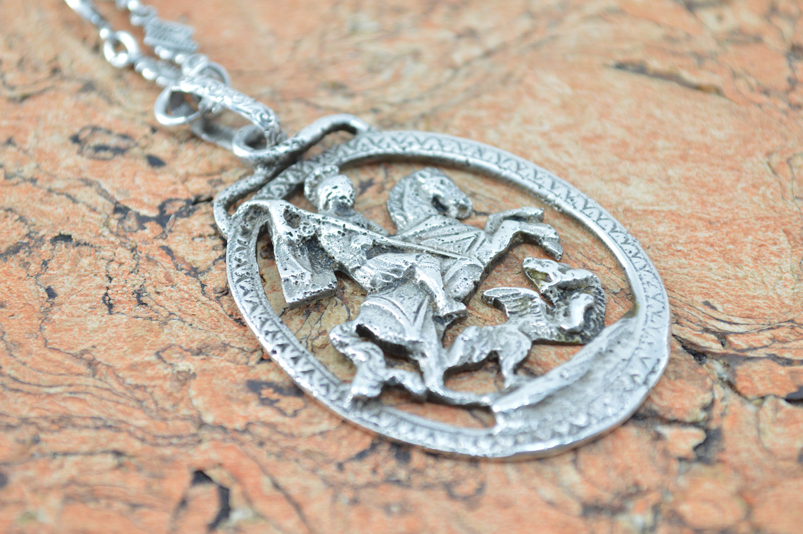 Saint george pendant necklace sterling silver 474g property room saint george pendant necklace sterling silver 474g aloadofball Image collections