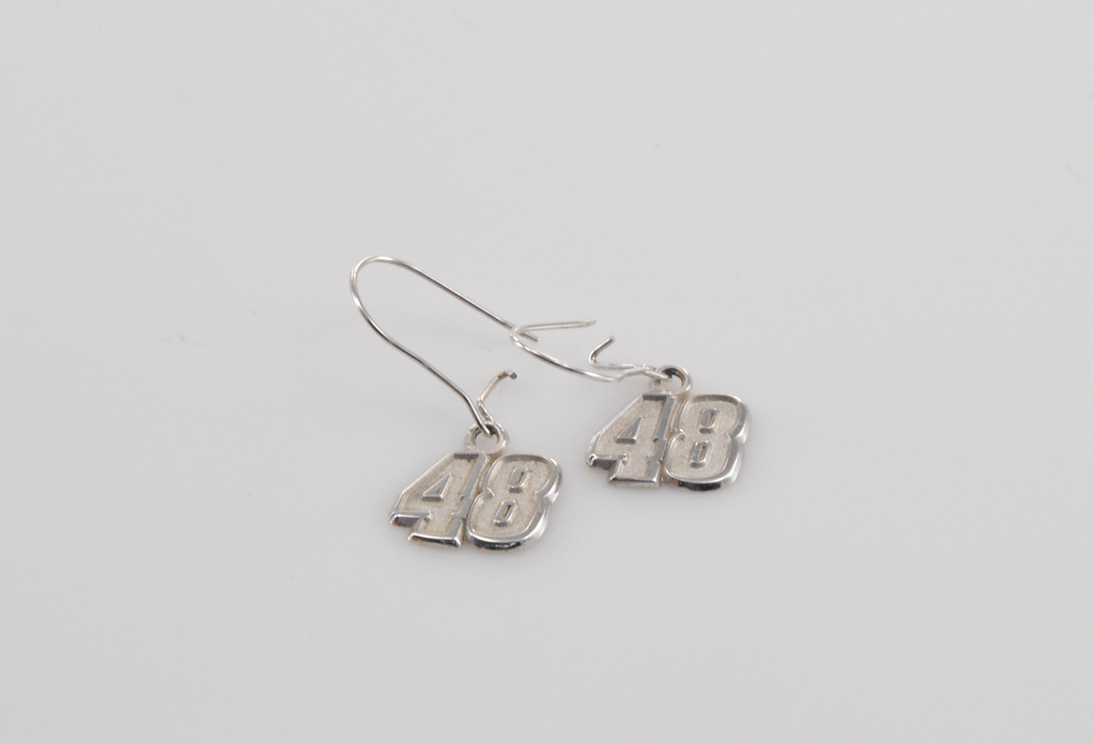 Solid Silver Jimmie Johnson Nascar 48 Sterling 1 3g Earrings Marked 925
