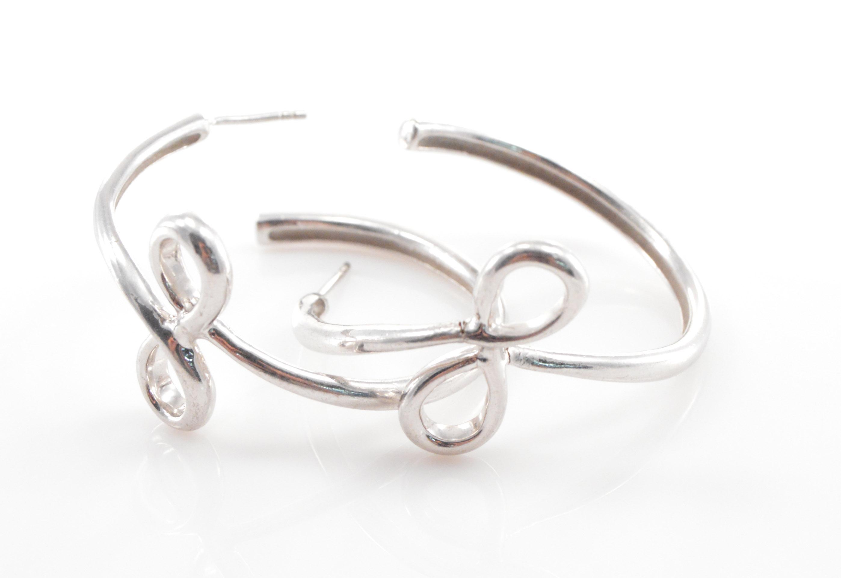 Solid Silver Large Semi Hoop Infinity Symbol Detail Stud Sterling