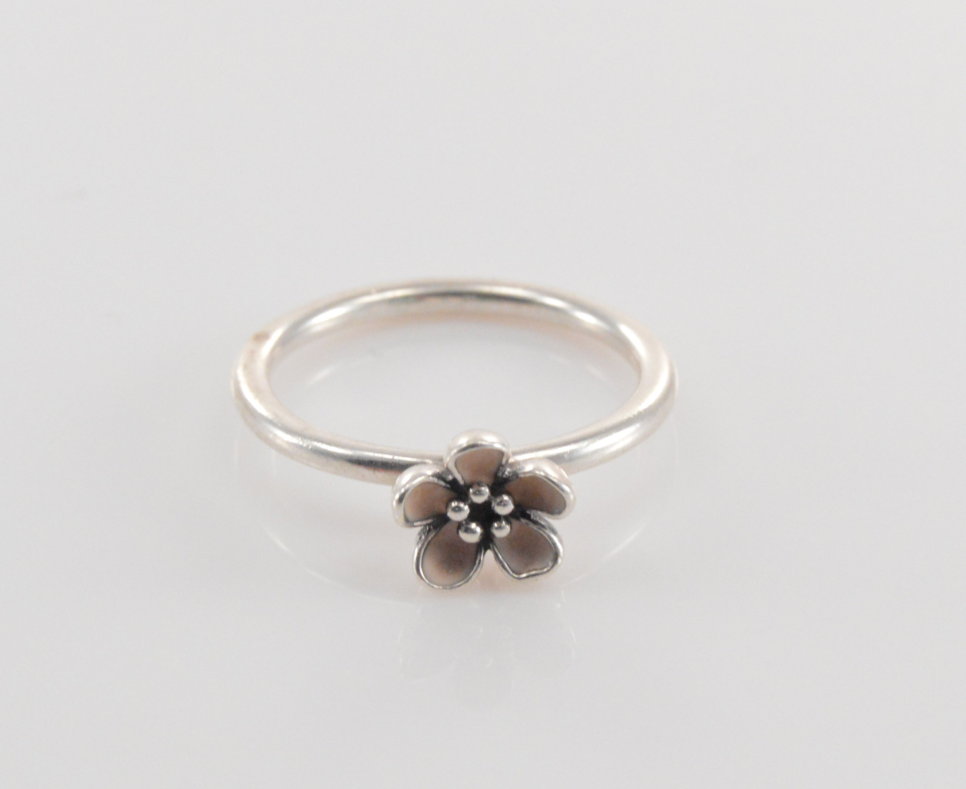 Solid Silver Pandora Petite 3d Flower With Pink Petals Sterling Ring