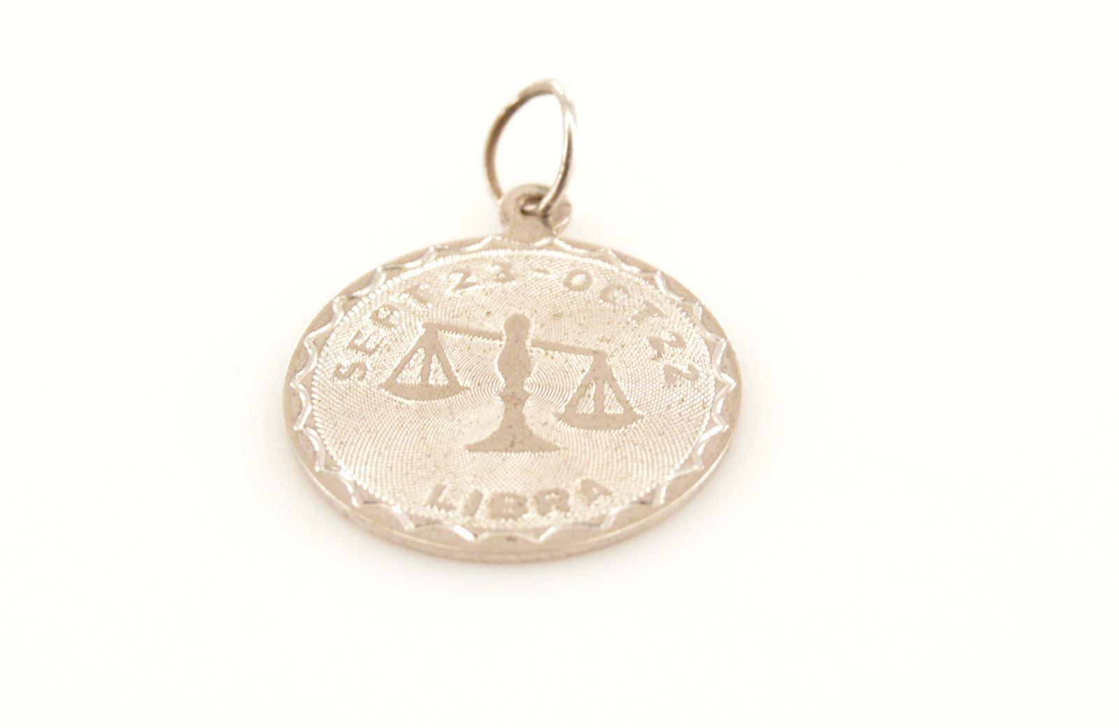 Solid Silver Round Libra/Birth Month Medallion Sterling Charm