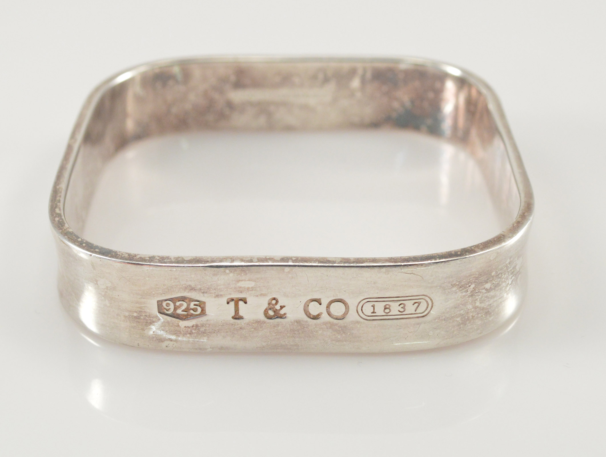 Solid Silver Tiffany Co Rounded Edge Square Bangle 2 4 Diameter Sterling Bracelet 47 8g Marked 925