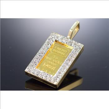 14k 33g 025 Ctw Diamond Bezel 1 Gram 999 Gold Bar Yellow Pendant