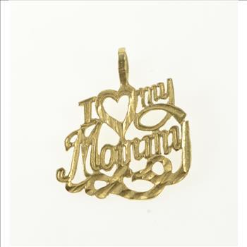 14K White Gold I Heart My Mom Pendant