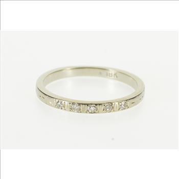 18k Art Deco Diamond Inset Men S Wedding Band White Gold Ring Size
