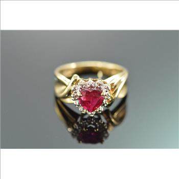 Gold Heart Shaped Lab Created Ruby & Diamond Ring 10K Yellow Gold