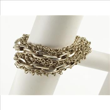Sterling Silver Tiered Rolo Ridged Cable Link Ornate Chain Bracelet