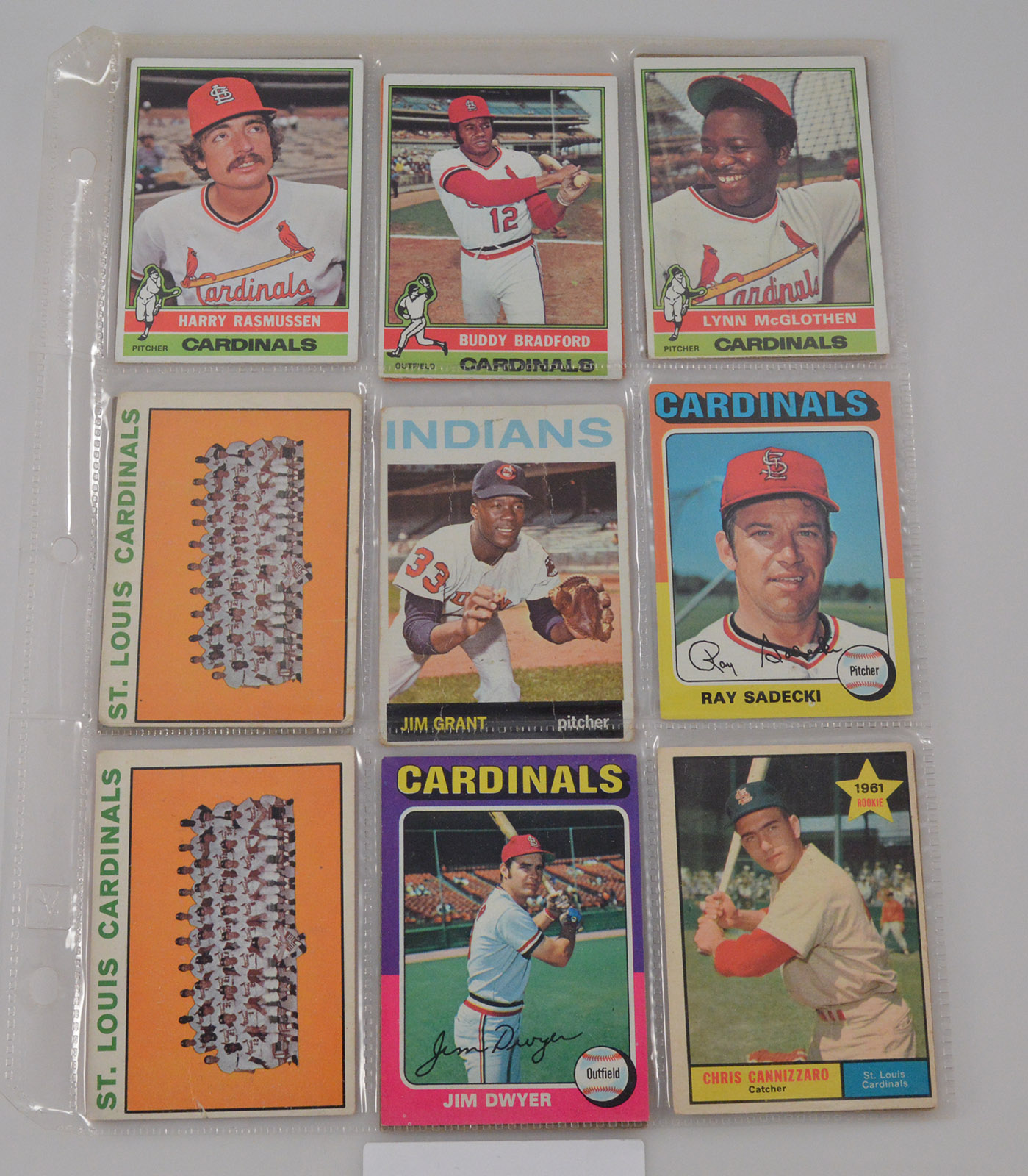 Sheet of Vintage Sports Cards - Cards on BOTH Sides! - Great