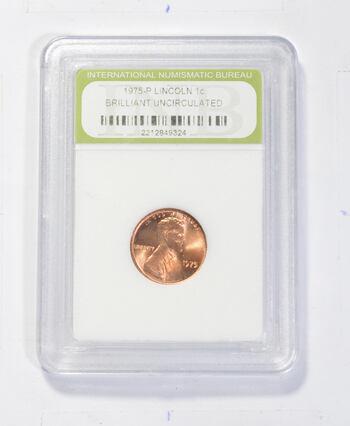 *** BU 1975-P Lincoln Memorial Cent - Graded INB - Fancy Display Holder
