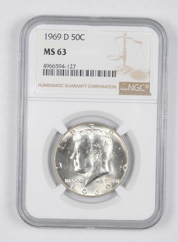 *** MS63 1969-D Kennedy Half Dollar - Graded NGC