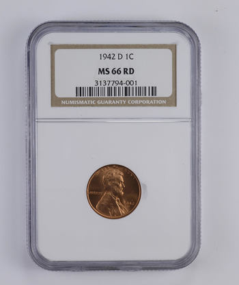 *** MS66 RD 1942-D Lincoln Wheat Cent - Graded NGC
