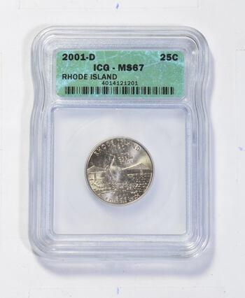 *** MS67 2001-D Rhode Island State Quarter - Graded ICG Fancy Display Holder
